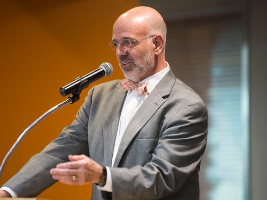 University of Tennessee President Joe DiPietro speaks about Chancellor Jimmy Cheek in Neyland Stadium on Wednesday, Feb. 8, 2017, at a party for Cheek celebrating his return to teaching after eight years in the chancellor position.