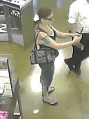 Derry Township police need help to identify this woman, who is a suspect in the retail theft of sunglasses from a township business.