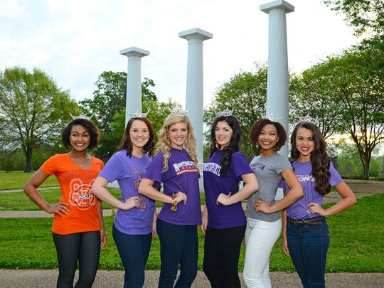 These six Northwestern State University students and alumnae will represent the university in the 2016 Miss Louisiana Pageant in Monroe. (Pictured from left) Breanna Collier, Hannah Tetusch, Marissa McMickens, Taylor Walker, Holli' Conway and Lincoln Pearce.