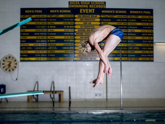 Delta's Sam Bennett practices for the diving state