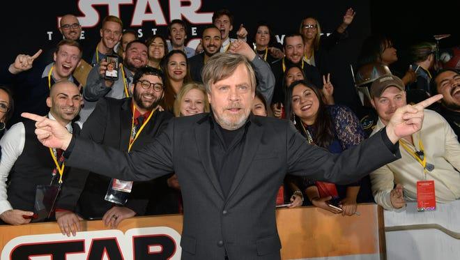 Mark Hamill attends the premiere 'Star Wars: The Last Jedi.'