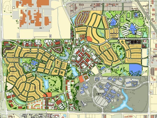 This illustration shows the plans for Prairie Trail, a roughly 1,000-acre development in Ankeny. Including homes, apartments, retailers, offices, schools and parks, nearly two-thirds of  Prairie Trail has been developed or is in the works.