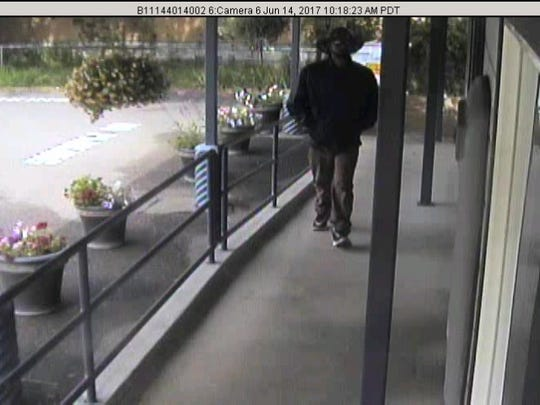 This surveillance photo shows the man who allegedly robbed the Scott Valley Bank in Happy Camp on June 14.