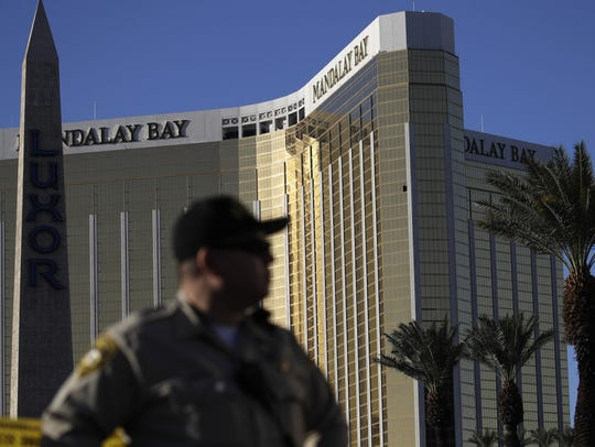 A Las Vegas police officer stands by a blocked off