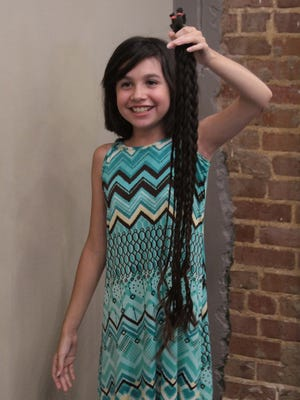 Right, Mia Bella Romo shows off the braids of her hair that were donated to Wigs for Kids.