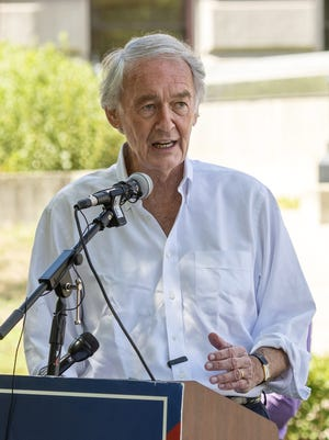 Sen.  Ed Markey campaigns on the Worcester Common Thursday.