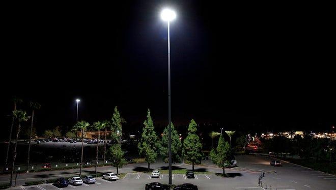 A Sensity LED illuminates the parking lot at Brea Mall in Orange County, Calif.