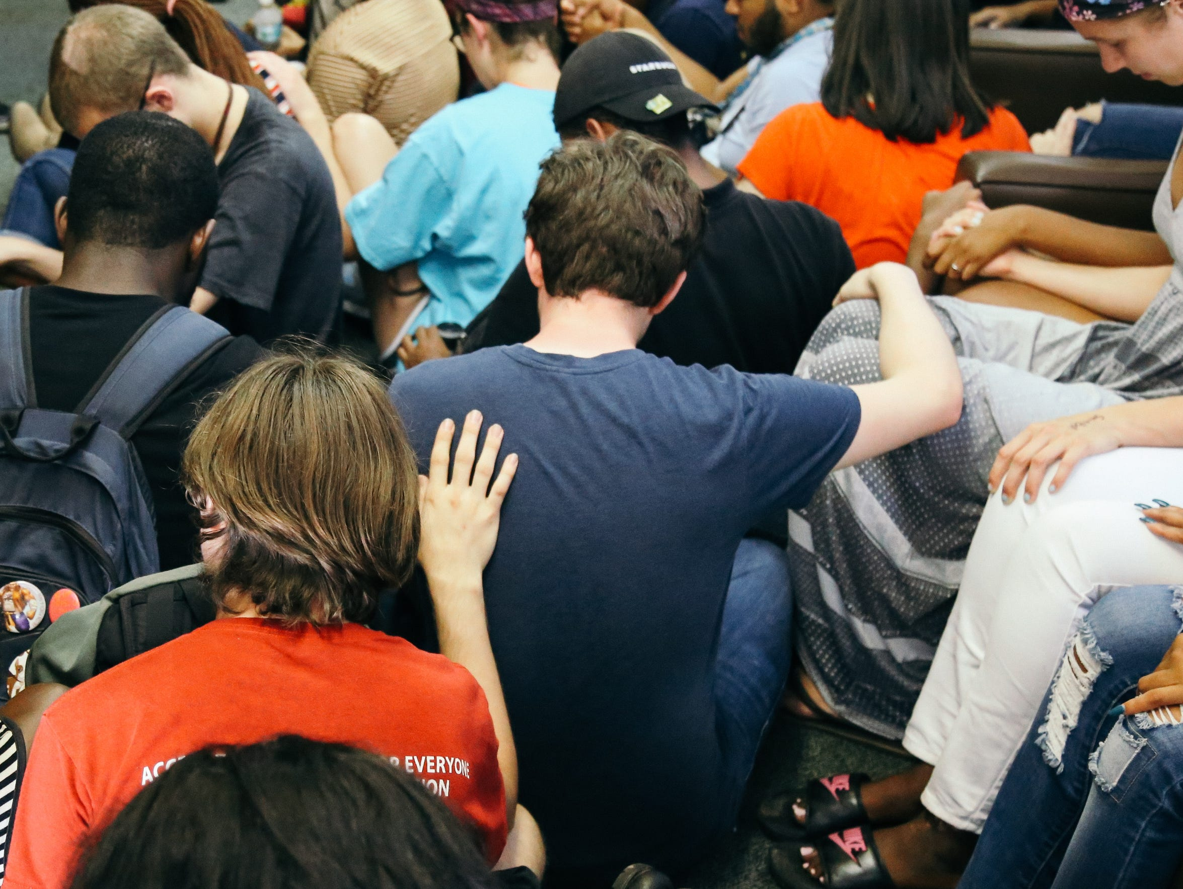 Students talked, cried and prayed together in the BSU