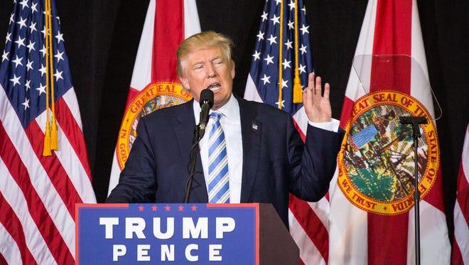 Donald Trump speaks during a rally at the Sarasota Fairgrounds in Sarasota, Fla., on Monday, Nov. 7, 2016.   (Loren Elliott/The Tampa Bay Times via AP)
