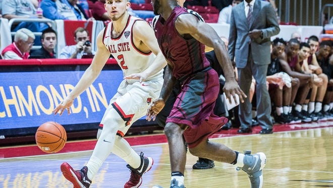Ball State faces off against UIndy during their game at Worthen Arena Thursday, Nov. 3, 2016.
