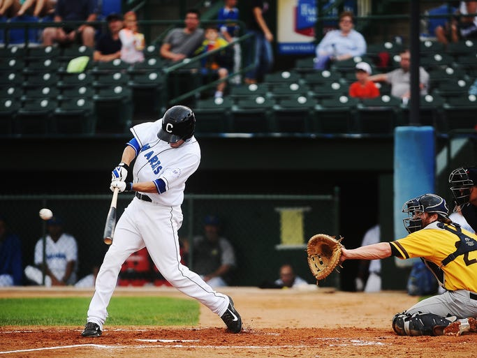 Canaries' Chris Valencia hits a single during a game against the Amarillo Sox on Tuesday, June 17, 2014, at Sioux Falls Stadium in Sioux Falls.