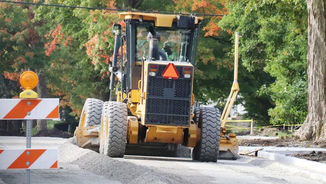 Work continues on Division Street south of US 24 in Chenoa Tuesday morning. This portion of the McLean County road project is expected to be completed in October.
