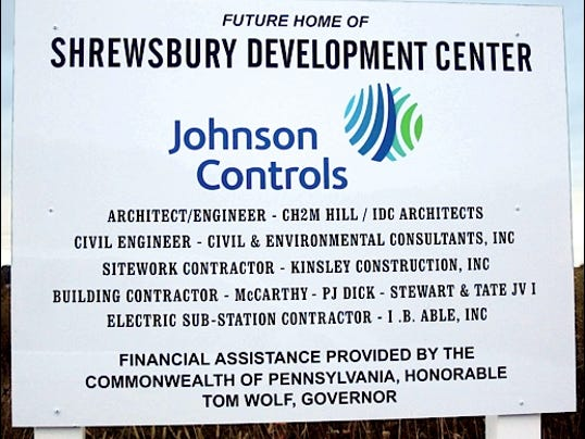Johnson Controls Shrewsbury Development Center Sign along Renaissance Drive within Stonebridge Business Center at Exit 4 of Interstate-83 (2015 Photo, S. H. Smith)
