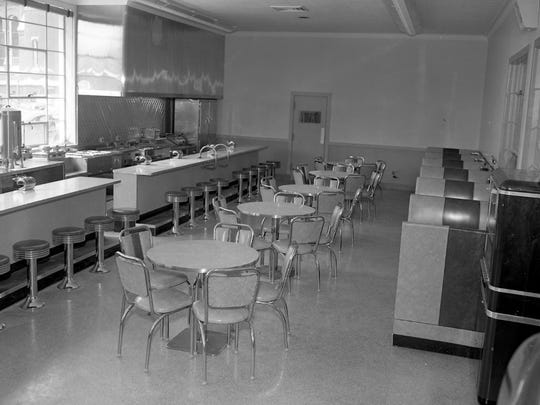 Terminal Grill adjacent to the waiting room inside Traillways Bus Center in 1949.