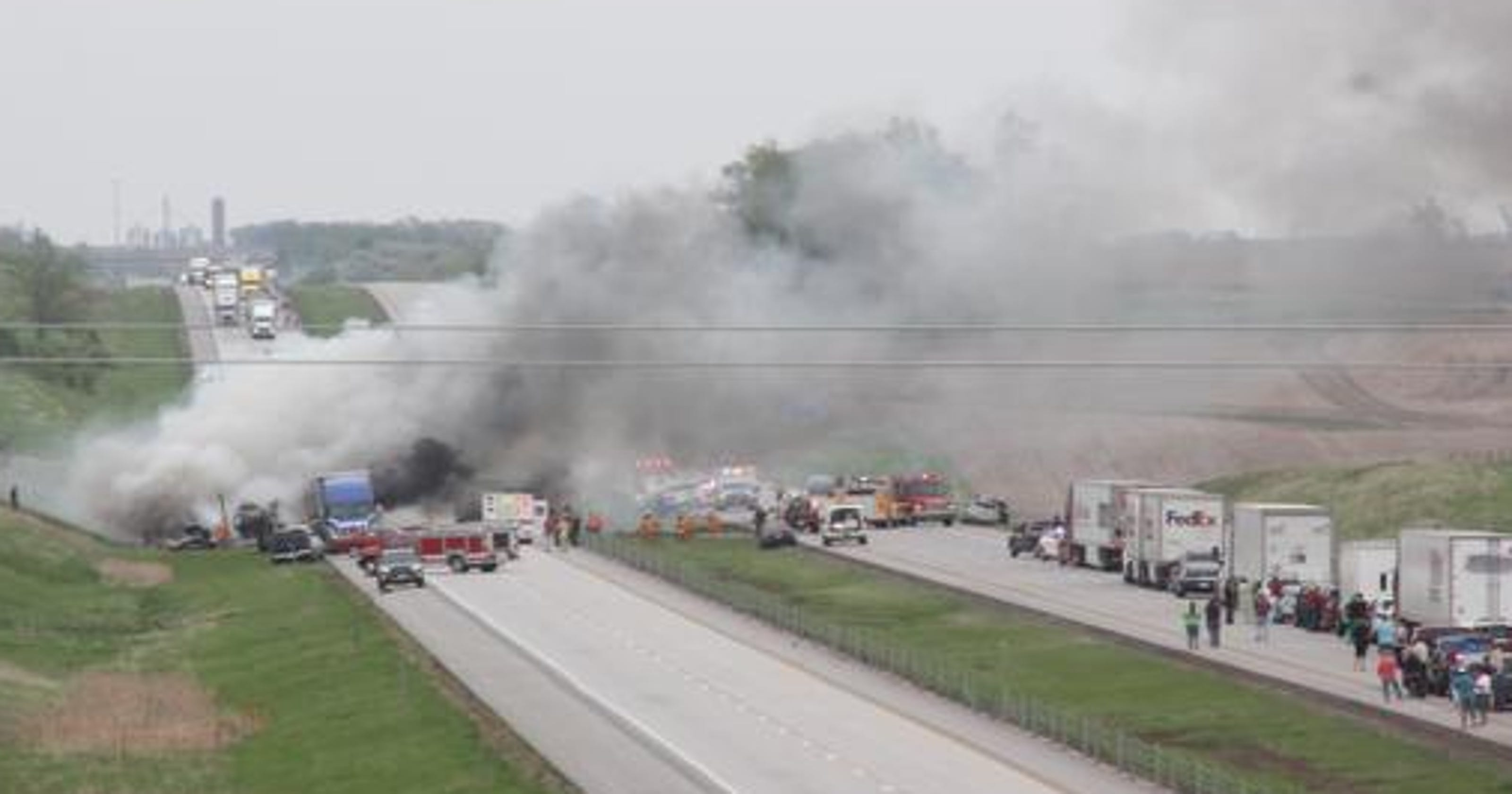 Iowa officials: Up to 30 injured in I-80 crashes