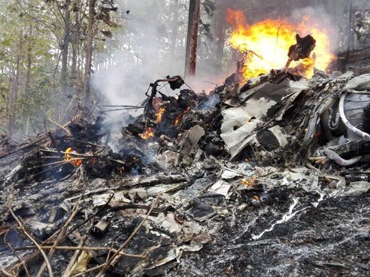 Photo taken by the Costa Rican Ministry of Public Security, of a plane crash in Costa Rica in which five members of a Scarsdale family were killed. Ministerio de Seguridad Public