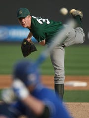 St. Joseph's James Ziemba pitches against Middlesex during the first inning, Monday, April 11, 2011, at TD Bank Ball Park in Bridgewater.