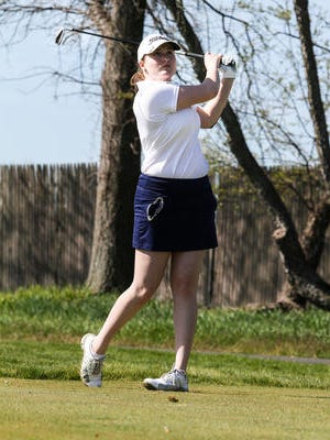 Watchung Hills' Marlene Tartaro tees off on the eighth hole during the Somerset County Tournament on April 18, 2016 at Neshanic Valley Golf Course.