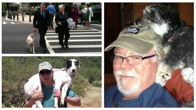 U.S. Reps. (clockwise from top left) David Schweikert, Ron Barber and Paul Gosar spend time with their dogs.