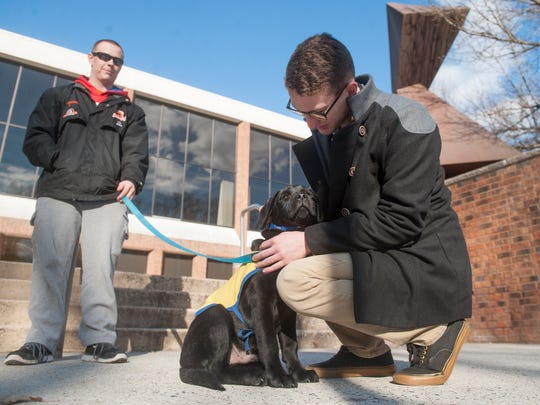 Rowan student Noah Kernan of Mount Laurel pets a 4-month-old lab named Augie that is cared for by Rowan junior Jim Witkoski of Marlton. Witkoski is a puppy raiser for Canine Companions for Independence.  02.26.16