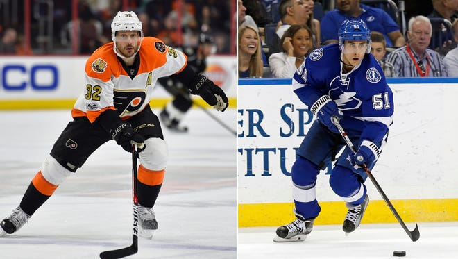 Mark Streit, left, was shipped to Tampa and flipped to Pittsburgh. The Flyers got Valtteri Filppula in the trade.