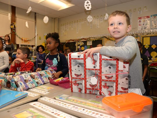 First grader Gavin Quinn received a gift along with