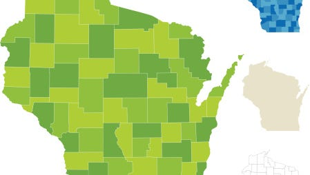 Use the map to compare child abuse rates by Wisconsin counties