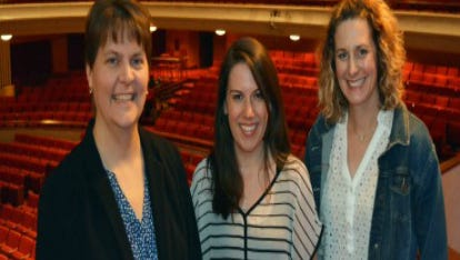 The team that coordinates Classroom Connections teacher workshops. From left to right Director of Programming and Community Engagement Amy Gosz, Education Coordinator Cassie Schroeder and Appleton Area School District Fine Arts Coordinator Renee Ulman.