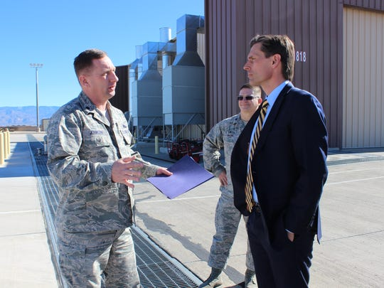 Sen. Martin Heinrich, D-N.M., listens to a Holloman Air Force Base airman during his tour of the Ground Control Station Saturday. While on the Armed Services Committee, Heinrich has worked to expand the Remotely Piloted Aircraft mission at Holloman.