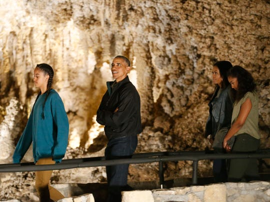 President Barack Obama and first lady Michelle Obama and their two daughters toured Carlsbad Caverns National Park Friday afternoon during a brief stop at the park in celebration of the Centennial Anniversary of the National Park Service.