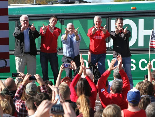 U.S. Rep. Jim Sensenbrenner (from left), House Speaker Paul Ryan, GOP vice presidential nominee Mike Pence, Sen. Ron Johnson and Gov. Scott Walker give the 'W' sign at a 2016 rally in Mukwonago.