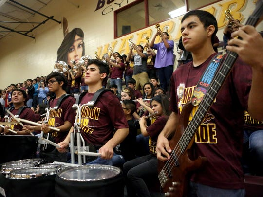 GABE HERNANDEZ/CALLER-TIMES Tuloso-Midway band performs during the pep rally and sendoff for the volleyball team as they advance to the 5A State Tournament in Garland on Wednesday, Nov. 16, 2016, at Tuloso-Midway High School in Corpus Christi.
