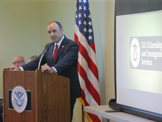 Congressman Jimmy Panetta addresses the crowd during the naturalization ceremony Friday.