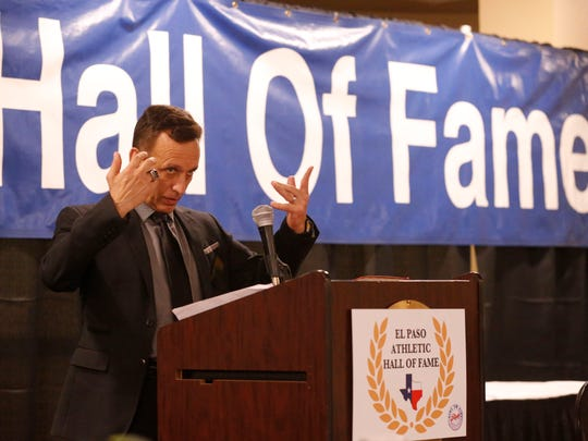 2017 El Paso Athletic Hall of Fame Honoree Anthony Carter, Coach Category addresses the crowd on hand during the banquet held at Sunland Park Racetrack & Casino Wednesday night.