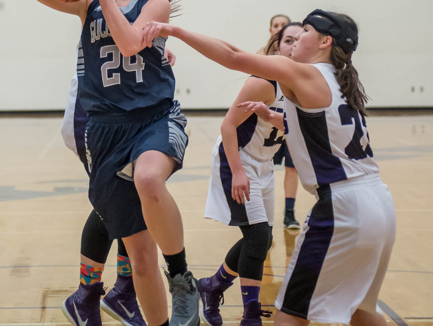Gull Lakes's Lauren Nusbaum takes her shot against Lakeview in Friday evening's game.