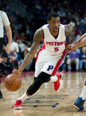 Detroit Pistons guard Kentavious Caldwell-Pope (5) drives to the basket during the first quarter against the Philadelphia 76ers at The Palace of Auburn Hills on Jan. 17, 2015.
