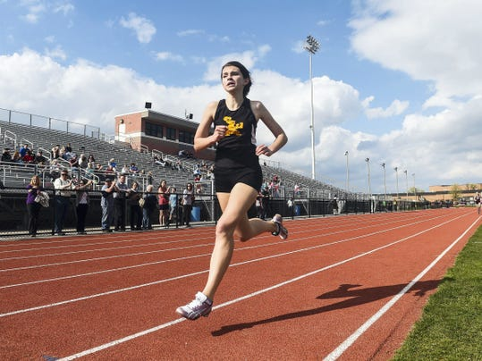 Delone Catholic's Abbey Sweeney won the 1,600 meter run during Friday's track meet against New Oxford and Gettysburg at New Oxford. Sweeney's finish in 6 minutes was her best finish of the season by seven seconds.