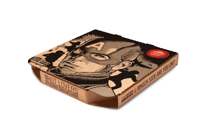 Collectible pizza boxes with Marvel action heroes Captain America and Ironman are the latest marketing gimmick from Pizza Hut.