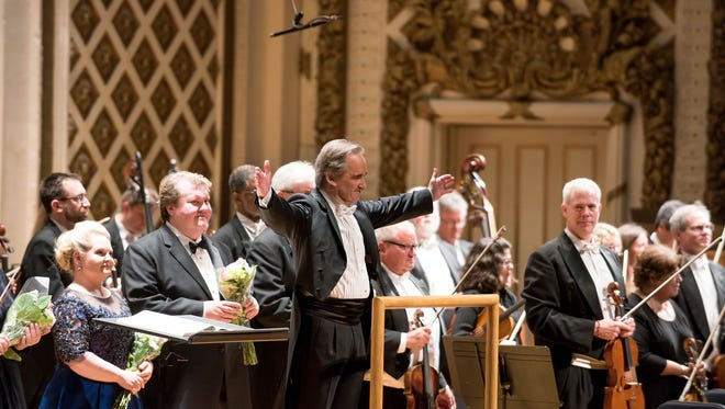 "James Conlon and soloists, CSO, at the end of Dvorak's ""Stabat Mater."""