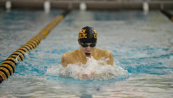 Bergen Catholic's Ian Liu swims breaststroke in the 200-yard individual medley event during the Bergen Meet Of Champions on Jan. 29, 2017.