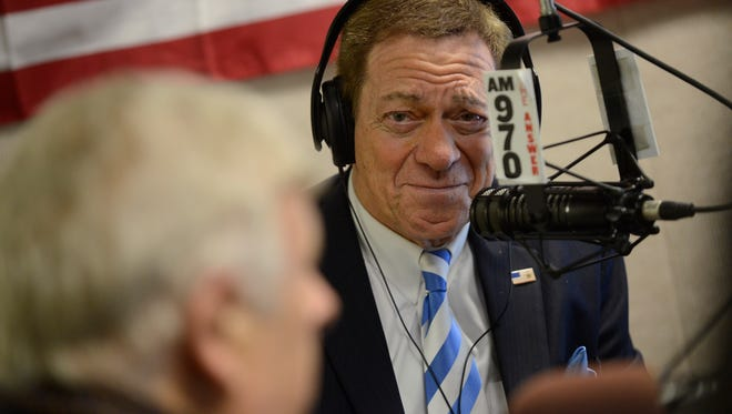 Joe Piscopo hosts conservative activist Dr. Herb London on his morning radio talk show, The Joe Piscopo Show on March 8, 2017. Piscopo is considering running for governor of New Jersey in the upcoming 2017 election.