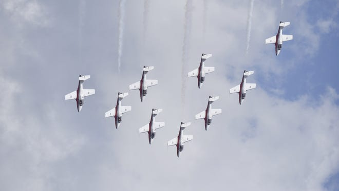 The Canadian Air Force Snowbirds soared above the Pensacola Naval Air Station as the squadron held demonstrations for crowds on Tuesday, May 15, 2018.