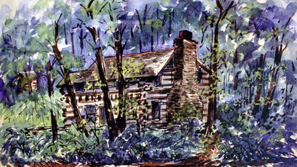 Walt Partymiller painting of Rambo Run Cabin (Jim McClure's blog)submitted