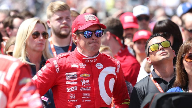 Scott Dixon looks on before the start of the 100th running of the Indianapolis 500 May 29, 2016.