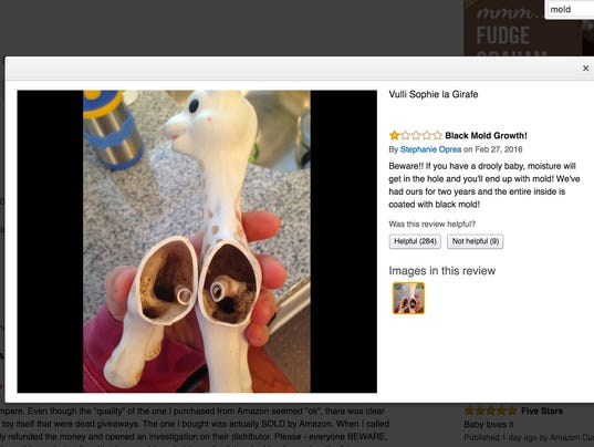Does your child's Sophie the Giraffe toy have mold inside it?