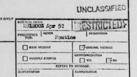 A declassified record from Project Blue Book, the U.S. Air Force's files on UFO sightings and investigations.