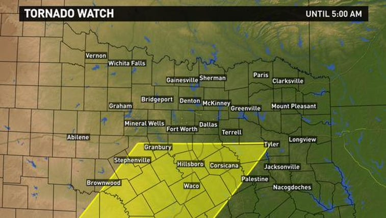 Tornado Watch for North Texas until 5 a.m. Monday