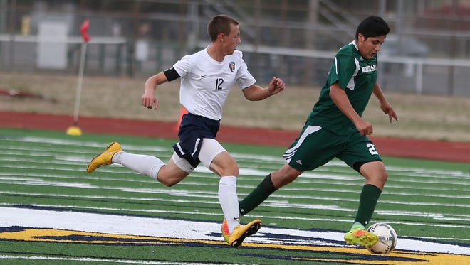 Stayton's Jacobe Croff and the Eagles defeat North Marion 2-1 on Thursday, Sept. 29, 2016, at Stayton High School.