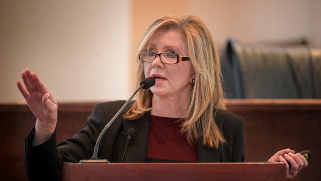 Rep. Marsha Blackburn speaks at Town Hall meeting at City Hall in Fairview, Tenn., Tuesday, Feb. 21, 2017.
