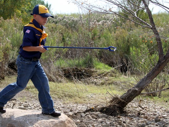 Gage Kunsky, 7, volunteered at the Pecos River Clean